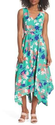 Vince Camuto Floral Asymmetric Hem Midi Dress