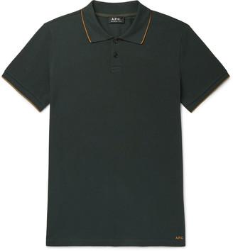 A.P.C. Contrast-Tipped Cotton-Pique Polo Shirt - Men - Green