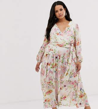 6adcabe40 True Violet Plus chiffon maxi dress in tie dye floral print