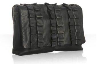 Dolce & Gabbana black leather ruffle 'Miss Lexington' clutch