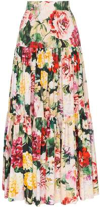 Dolce & Gabbana tiered cotton floral maxi skirt
