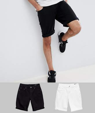 Asos DESIGN TALL Denim Shorts In Slim Black & White