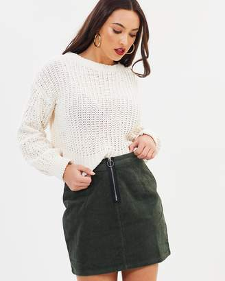 Missguided Zip Front Cord Mini Skirt