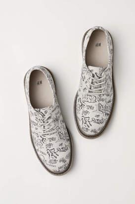 H&M Canvas Derby Shoes - Natural white/graffiti - Men