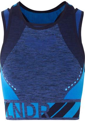 LNDR - Zing Layered Stretch-knit Sports Bra - Blue