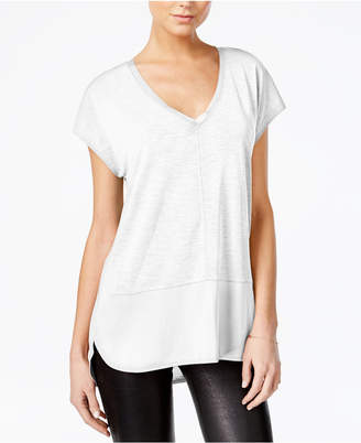 Bar III V-Neck Mixed-Media Top, Created for Macy's