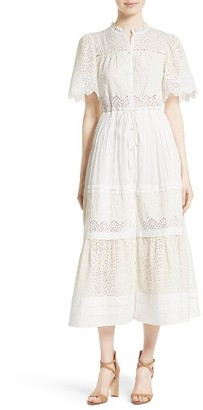 Women's La Vie Rebecca Taylor Embroidered Voile Midi Dress $375 thestylecure.com