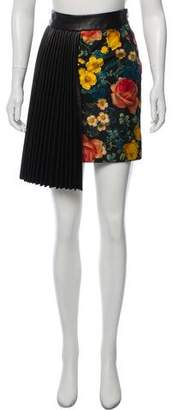 Fausto Puglisi Leather-Trimmed Floral Print Skirt w/ Tags