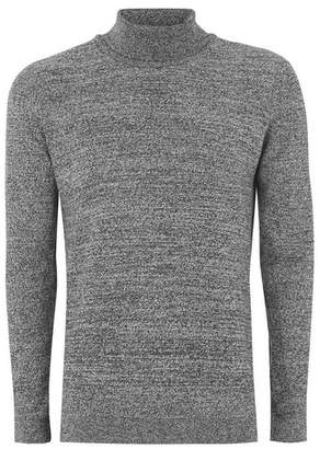 Topman Mens Grey. Gray, Black And White Twist Side Ribbed Sweater
