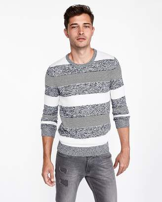 Express Mixed Stripe Crew Neck Sweater