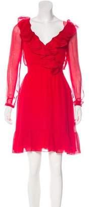 Valentino Ruffle-Trimmed Silk Dress