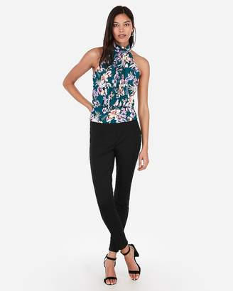 20c6679c2eacc Express Floral High Neck Banded Bottom Top