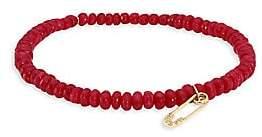 Sydney Evan Women's Safety Pin Diamond & Red Jade Bead Bracelet