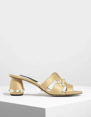 Charles & Keith Pearl Embellished Satin Heeled Slide Sandals