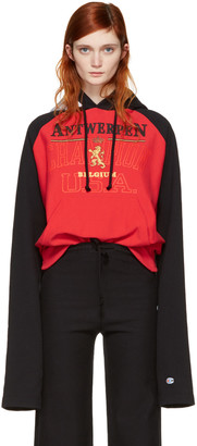 Vetements Red & Black Champion Edition Antwerpen Hoodie $1,140 thestylecure.com