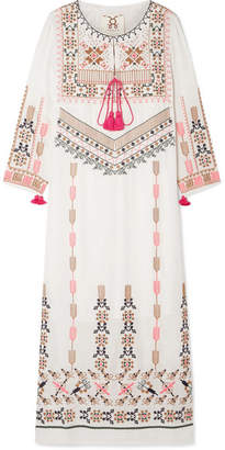 Figue Josefina Embroidered Silk-georgette Kaftan - White