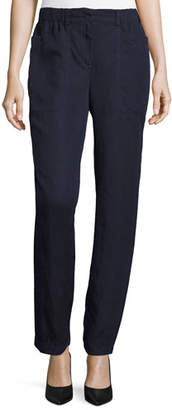Eileen Fisher Tencel® Linen Straight-Leg Ankle Pants, Midnight $178 thestylecure.com