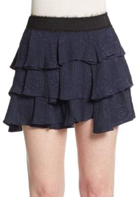 Derek Lam 10 Crosby Tiered Silk Mini Skirt