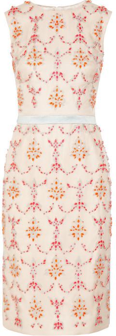 Erdem Mallory crystal-embellished silk-blend dress