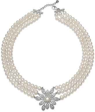 FINE JEWELRY Cultured Freshwater Pearl and Crystal Three-Row Necklace $416.65 thestylecure.com