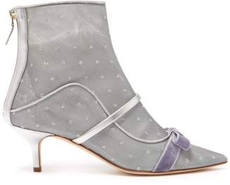 Malone Souliers Claudia Mesh And Leather Ankle Boots - Womens - Silver