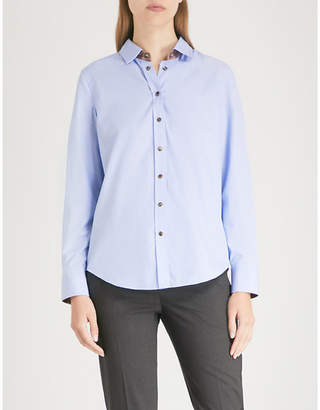 Brunello Cucinelli Contrast-trim cotton-poplin shirt
