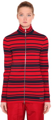 Prada Striped Ribbed Knit Zip-Up Sweater