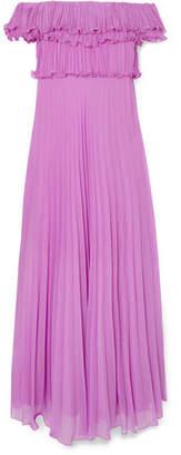 Halston Ruffled Plissé-georgette Gown - Lilac