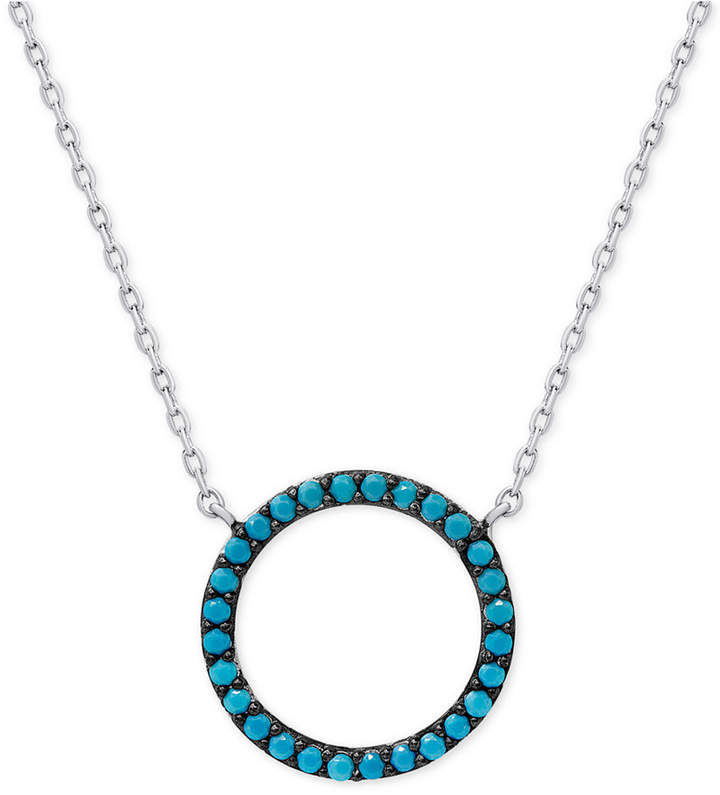 Macy's Manufactured Turquoise Circle Pendant Necklace in Sterling Silver