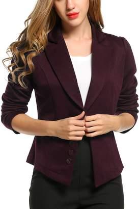 ACEVOG Women's Long Sleeve Solid Casual Work Office Slim One Button Blazer