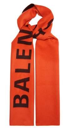 Balenciaga Logo Intarsia Wool Scarf - Womens - Orange