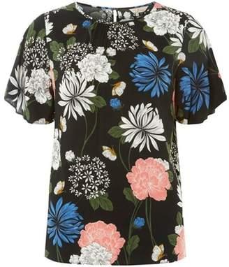 Dorothy Perkins Womens **Billie & Blossom Black Floral Print Viscose Top