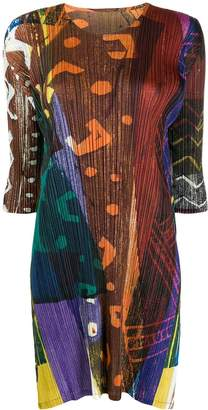 Pleats Please Issey Miyake contrast print plissé dress