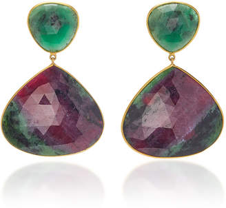 Bahina 18K Gold Emerald and Ruby-In-Zoisite Earrings