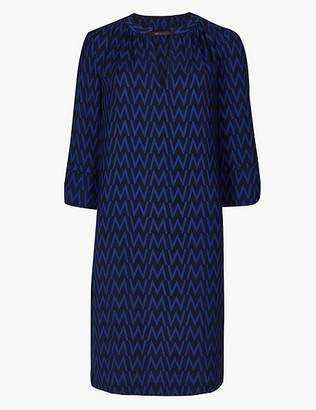 Marks and Spencer Printed 3/4 Sleeve Shift Dress