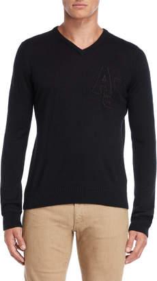 Armani Jeans Black Slim Fit V-Neck Pullover Sweater