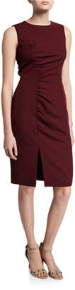 Milly Hera Sleeveless Ruched Sustainable Cady Sheath Dress