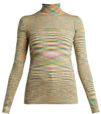 Missoni Roll Neck Space Dye Wool Sweater - Womens - Green Multi