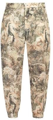 Etro Mid Rise Palm Print Linen Trousers - Mens - Beige