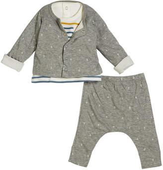 Petit Bateau Anchor Intarsia Cardigan & Pants w/ Striped Top, Size 1-12 Months