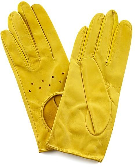 Carolina Amato Gloves Driving Gloves, Yellow