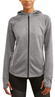 Avia Women's Active Performance Yoga Jacket with Hoodie and Reflective Pockets