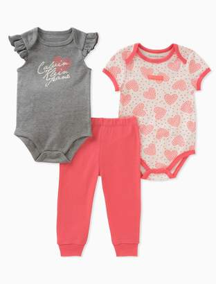 Calvin Klein baby girls 2-pack heart onesies + leggings