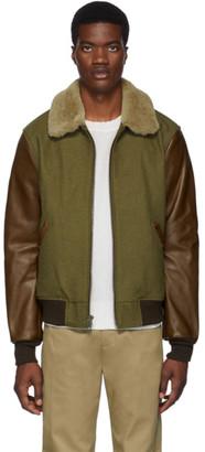 Schott Khaki and Brown Leather B-15 Jacket