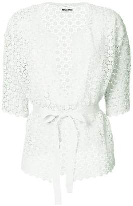 Max & Moi openwork lace belted cardigan