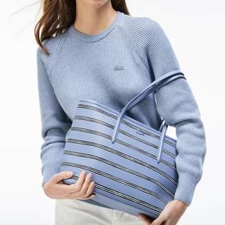 Lacoste Women's Chantaco Striped Print Pique Leather Zip Tote Bag