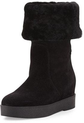 Salvatore Ferragamo Falcon Shearling Fur-Lined Boot, Black $575 thestylecure.com