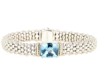 LAGOS Sterling Silver & 18K Gold Blue Topaz Rope Bracelet