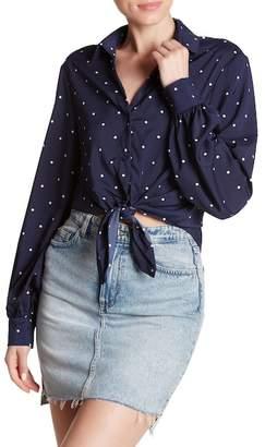 Dress Forum Long Sleeve Polkadot Tied Shirt