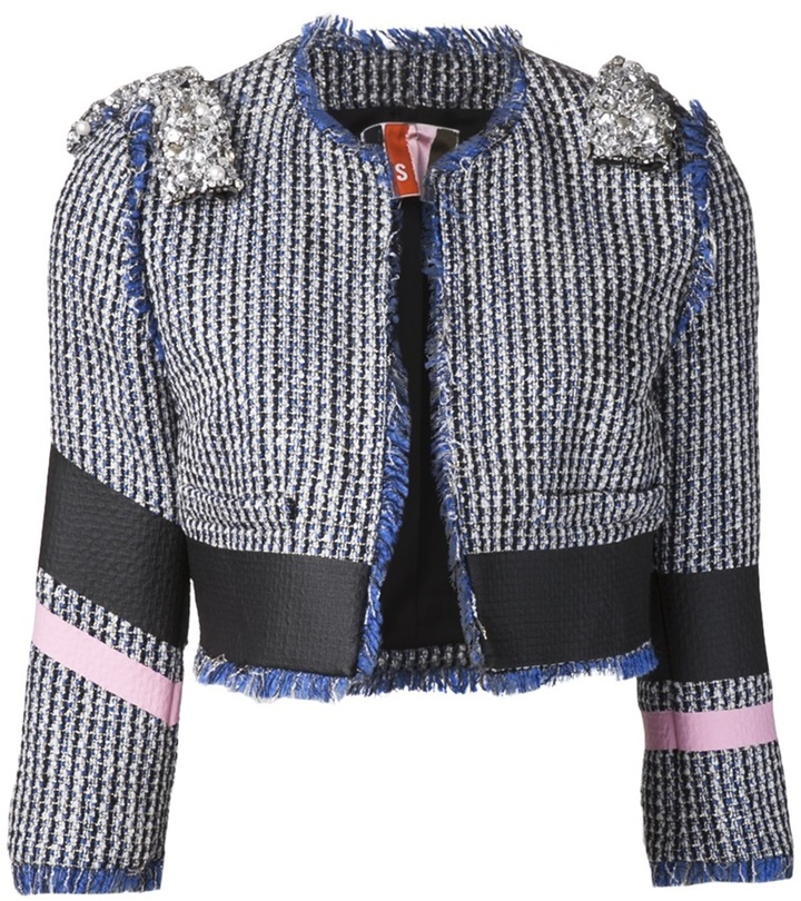MSGM cropped bouclé jacket